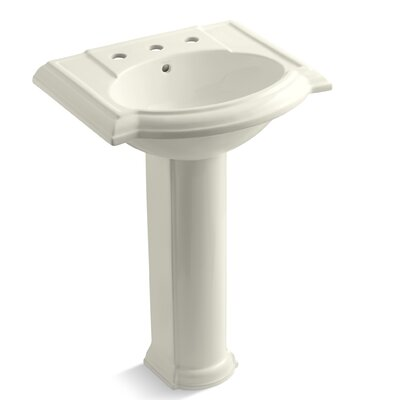 Devonshire 24 Pedestal Bathroom Sink Finish: Biscuit, Faucet Hole Style: Single