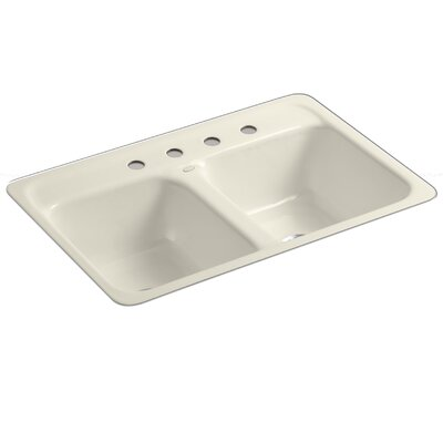 Delafield 32 x 21 x 8-1/2 Tile-In/Metal Frame Double-Equal Kitchen Sink with 4 Faucet Holes Finish: Almond