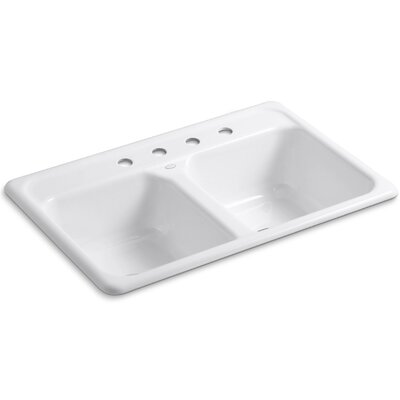 Cape Dory 33 x 22 x 8-1/2 Top-Mount Double-Equal Kitchen Sink Finish: White, Faucet Drillings: 4 Hole