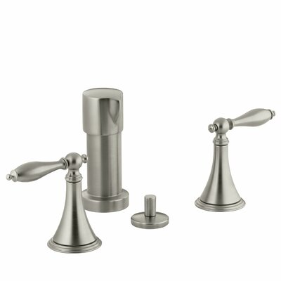 Finial Traditional Vertical Spray Bidet Faucet with Lever Handles and Matching Handle Inserts Finish: Vibrant Brushed Nickel