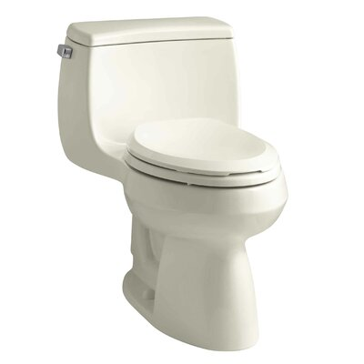 Gabrielle Comfort Height One-Piece Elongated 1.28 GPF Toilet with Aquapiston Flush Technology and Left-Hand Trip Lever Finish: Almond