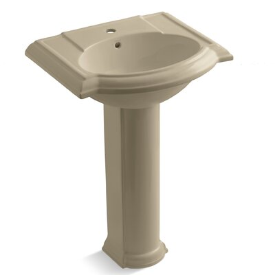 Devonshire Ceramic 25 Pedestal Bathroom Sink with Overflow Finish: Mexican Sand, Faucet Hole Style: 4 Centerset