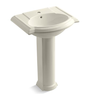 Devonshire Ceramic 25 Pedestal Bathroom Sink with Overflow Finish: Almond, Faucet Hole Style: 8 Widespread