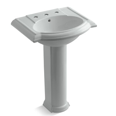 Devonshire 24 Pedestal Bathroom Sink Finish: Ice Grey, Faucet Hole Style: 8 Widespread