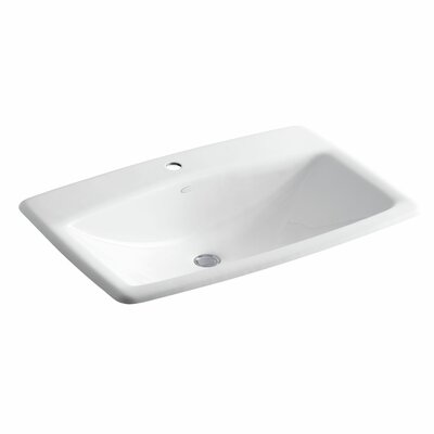 Mans Lav Metal Rectangular Drop-In Bathroom Sink with Overflow Finish: White