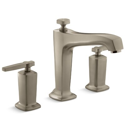 Margaux Deck-Mount Bath Faucet Trim for High-Flow Valve with Diverter Spout and Lever Handles, Valve Not Included Finish: Vibrant Brushed Bronze