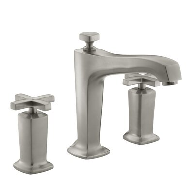 Margaux Deck-Mount Bath Faucet Trim for High-Flow Valve with Non-Diverter Spout and Cross Handles, Valve Not Included Finish: Vibrant Brushed Nickel