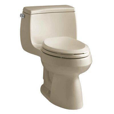 Gabrielle Comfort Height One-Piece Elongated 1.28 GPF Toilet with Aquapiston Flush Technology and Left-Hand Trip Lever Finish: Mexican Sand