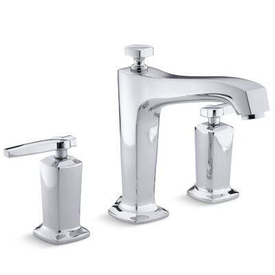 Margaux Deck-Mount Bath Faucet Trim for High-Flow Valve with Diverter Spout and Lever Handles, Valve Not Included Finish: Polished Chrome