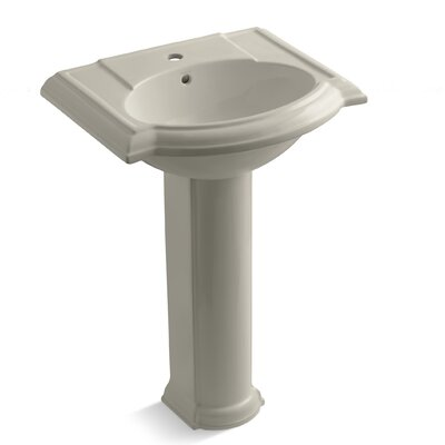 Devonshire 24 Pedestal Bathroom Sink Finish: Sandbar, Faucet Hole Style: 8 Widespread