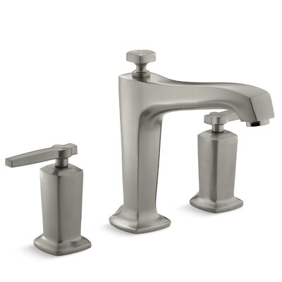 Margaux Deck-Mount Bath Faucet Trim for High-Flow Valve with Diverter Spout and Lever Handles, Valve Not Included Finish: Vibrant Brushed Nickel