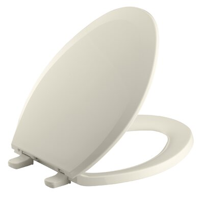 Lustra with Quick-Release Hinges Elongated Toilet Seat Finish: Almond