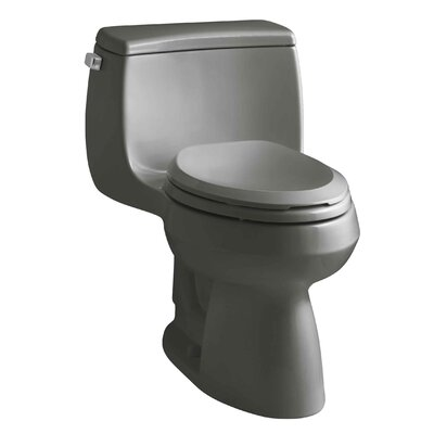 Gabrielle Comfort Height One-Piece Elongated 1.28 GPF Toilet with Aquapiston Flush Technology and Left-Hand Trip Lever Finish: Thunder Grey