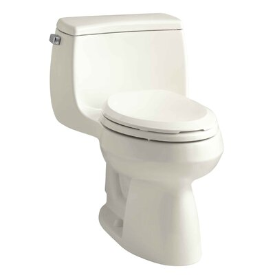 Gabrielle Comfort Height One-Piece Elongated 1.28 GPF Toilet with Aquapiston Flush Technology and Left-Hand Trip Lever Finish: Biscuit