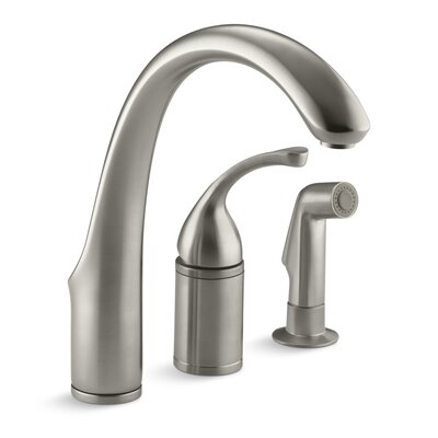 Fort� 3-Hole Remote Valve Kitchen Sink Faucet with 9 Spout with Matching Finish Sidespray Finish: Vibrant Brushed Nickel