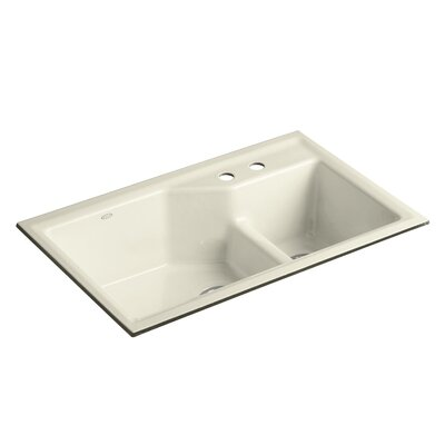 Indio 33 x 21-1/8 x 9-3/4 Under-Mount Smart Divide Large/Small Double-Bowl Kitchen Sink Finish: Cane Sugar, Faucet Drillings: 2 Hole