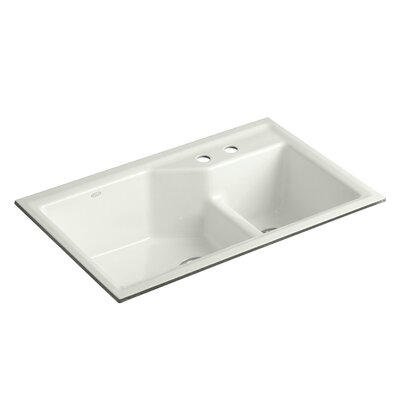 Indio 33 x 21-1/8 x 9-3/4 Under-Mount Smart Divide Large/Small Double-Bowl Kitchen Sink Finish: Dune, Faucet Drillings: 2 Hole