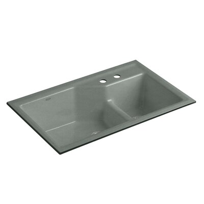 Indio 33 x 21-1/8 x 9-3/4 Under-Mount Smart Divide Large/Small Double-Bowl Kitchen Sink Finish: Basalt, Faucet Drillings: 2 Hole