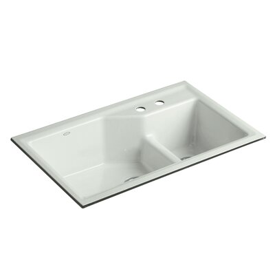 Indio 33 x 21-1/8 x 9-3/4 Under-Mount Smart Divide Large/Small Double-Bowl Kitchen Sink Finish: Sea Salt, Faucet Drillings: 2 Hole