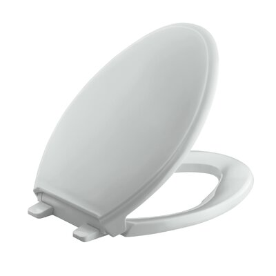 Glenbury Quiet-Close with Grip-Tightelongated Toilet Seat Finish: Ice Grey