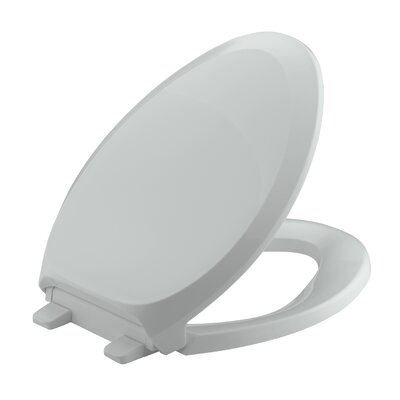 French Curve Quiet-Close with Grip-Tightelongated Toilet Seat Finish: Ice Grey