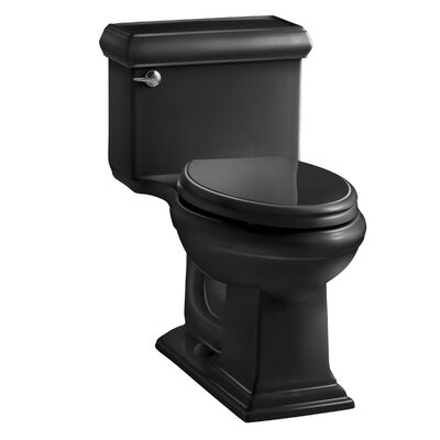 Memoirs Classiccomfort Height One-Piece Elongated 1.28 GPF Toilet with Aquapiston Flush Technology and Left-Hand Trip Lever Finish: Black Black