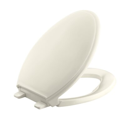 Glenbury Quiet-Close with Grip-Tightelongated Toilet Seat Finish: Almond