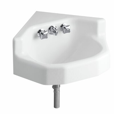 Marston Metal 23 Corner Bathroom Sink with Faucet and Overflow Finish: White