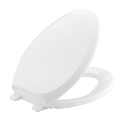 French Curve Quiet-Close with Grip-Tightelongated Toilet Seat Finish: White