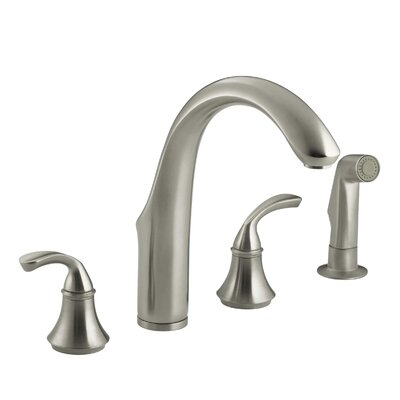 Fort� 4-Hole Kitchen Sink Faucet with 7-3/4 Spout, Matching Finish Sidespray Finish: Vibrant Brushed Nickel