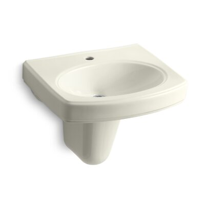 Pinoir Vitreous China 22 Semi Pedestal Bathroom Sink with Overflow Finish: Biscuit
