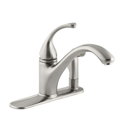 Fort� 3-Hole Kitchen Sink Faucet with 9-1/16 Spout with Matching Finish Sidespray In Escutcheon Finish: Vibrant Stainless