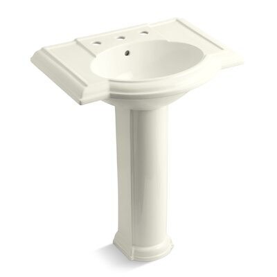 Devonshire� Ceramic 28 Pedestal Bathroom Sink with Overflow Finish: Biscuit, Faucet Hole Style: 8 Widespread