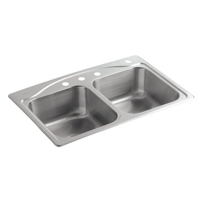 Cadence 33 x 22 x 8-5/16 Top-Mount Double-Equal Kitchen Sink with 4 Faucet Holes