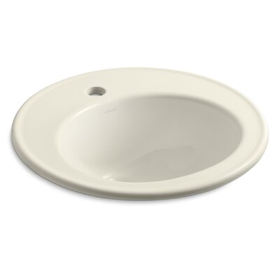 Brookline Ceramic Circular Drop-In Bathroom Sink with Overflow Finish: Almond, Faucet Hole Style: 8 Widespread