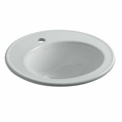 Brookline Ceramic Circular Drop-In Bathroom Sink with Overflow Finish: Ice Grey, Faucet Hole Style: Single