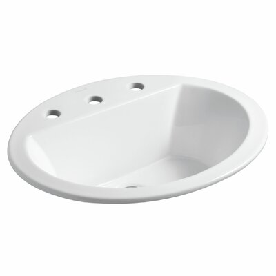 Bryant Ceramic Oval Drop-In Bathroom Sink with Overflow Finish: White