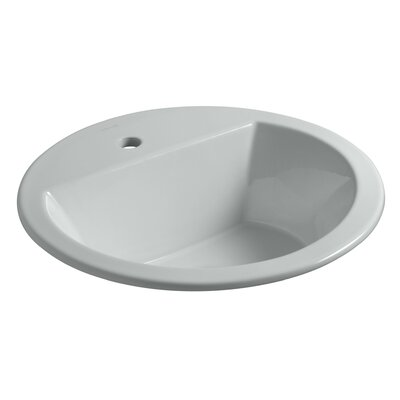 Bryant Ceramic Circular Drop-In Bathroom Sink with Overflow Finish: Ice Grey, Faucet Hole Style: 4 Centerset