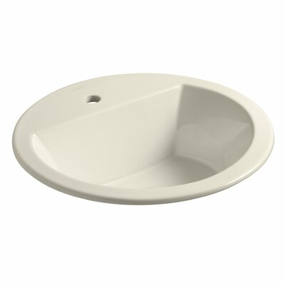 Bryant Ceramic Circular Drop-In Bathroom Sink with Overflow Finish: Almond, Faucet Hole Style: 8 Widespread