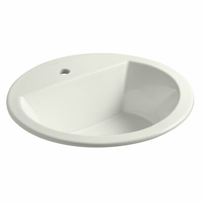 Bryant Ceramic Circular Drop-In Bathroom Sink with Overflow Finish: Dune, Faucet Hole Style: 4 Centerset