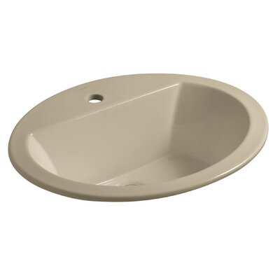 Bryant Ceramic Oval Drop-In Bathroom Sink with Overflow Finish: Mexican Sand, Faucet Hole Style: Single