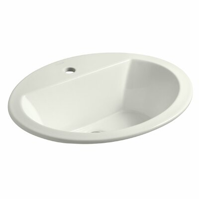 Bryant Ceramic Oval Drop-In Bathroom Sink with Overflow Finish: Dune, Faucet Hole Style: 4 Centerset
