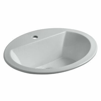Bryant Ceramic Oval Drop-In Bathroom Sink with Overflow Finish: Ice Grey, Faucet Hole Style: 4 Centerset