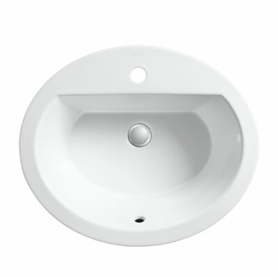 Bryant Ceramic Oval Drop-In Bathroom Sink with Overflow Finish: White, Faucet Hole Style: Single