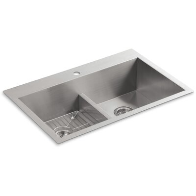 Vault 33 x 22 x 9-5/16 Smart Divide Top-Mount/Under-Mount Double-Equal Bowl Kitchen Sink with Single Faucet Hole