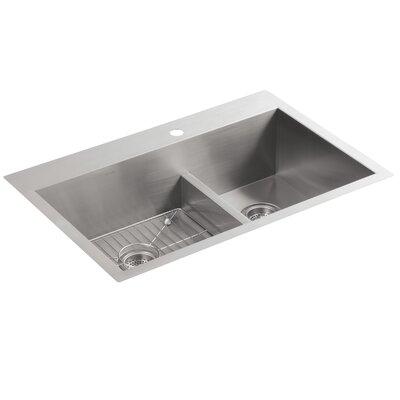 Vault 33 x 22 x 9-5/16 Smart Divide Top-Mount/Under-Mount Large/Medium Double-Bowl Kitchen Sink with Single Faucet Hole