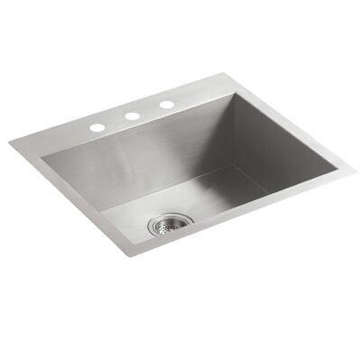 Vault 25 x 22 x 9.31 Top-Mount/Undermount Medium Single Bowl Kitchen Sink with 3 Faucet Holes