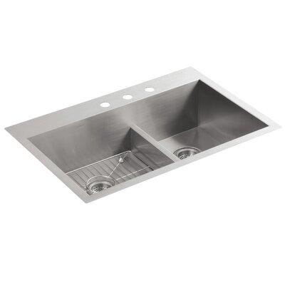 Vault 33 x 22 x 9-5/16 Smart Divide Top-Mount/Under-Mount Large/Medium Double-Bowl Kitchen Sink with 3 Faucet Holes
