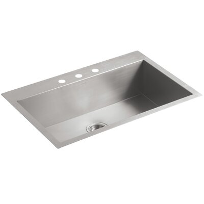 Vault 33 x 22 x 9.31 Top-Mount/Under-Mount Large Single-Bowl Kitchen Sink with 3 Faucet Holes