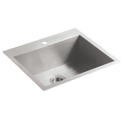 Vault 25 x 22 x 9.31 Top-Mount/Under-Mount Medium Single-Bowl Kitchen Sink with Single Faucet Hole